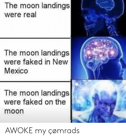 Mexico, Moon, and New Mexico: The moon landings  were real  The moon landings  were faked in New  Mexico  The moon landings  were faked on the  moon AWOKE my çømrads