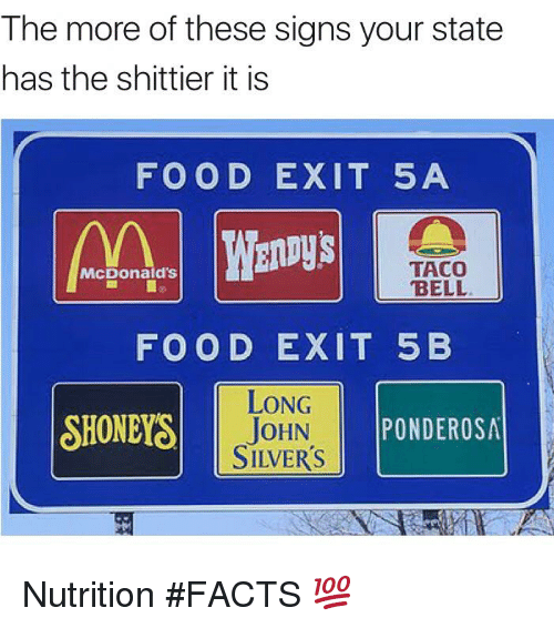 Blackpeopletwitter, Facts, and Food: The more of these signs your state  has the shittier it is  FOOD EXIT 5A  TACO  BELL  McDonald's  FOOD EXIT 5 B  LONG  TOHN  SILVER'S  SHONEYS  ON PONDEROSA