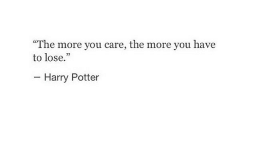 Harry Potter, Potter, and Harry: The more you care, the more you have  to lose.  Harry Potter