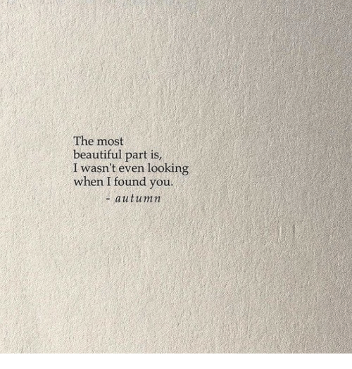 i found you: The most  beautiful part is  I wasn't even looking  when I found you.  + autumin