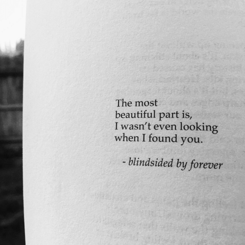 Beautiful, Forever, and Looking: The most  beautiful part is,  I wasn't even looking  when I found you.  blindsided by forever