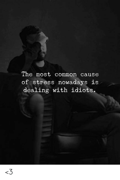 Memes, Common, and 🤖: The most common cause  of stress nowadays is  dealing with idiots. <3