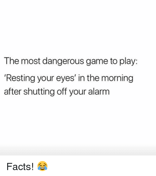 Facts, Memes, and Alarm: The most dangerous game to play:  Resting your eyes' in the morning  after shutting off your alarm Facts! 😂