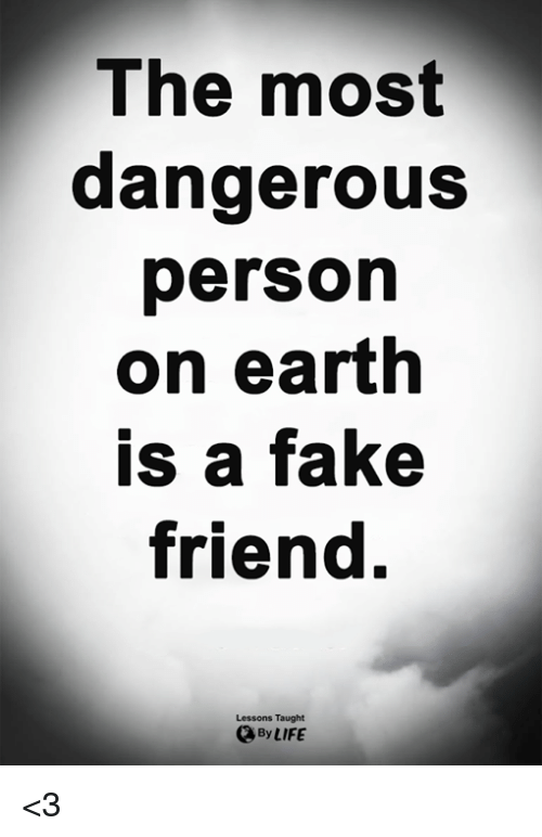 Fake, Life, and Memes: The most  dangerous  person  on eartlh  is a fake  friend.  Lessons Taught  By LIFE <3