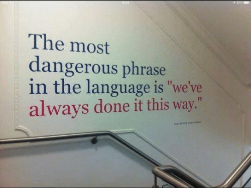 """Language, This, and Done: The most  dangerous phrase  in the language is """"we've  always done it this way."""""""
