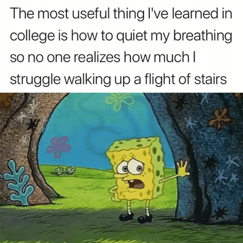 College, Struggle, and Flight: The most useful thing I've learned in  college is how to quiet my breathing  so no one realizes how much I  struggle walking up a flight of stairs