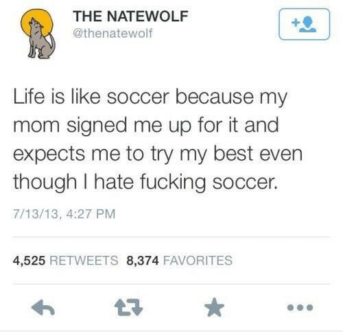 Fucking, Life, and Soccer: THE NATEWOLF  @thenatewolf  Life is like soccer because my  mom signed me up for it and  expects me to try my best even  though I hate fucking soccer.  7/13/13, 4:27 PM  4,525 RETWEETS 8,374 FAVORITES