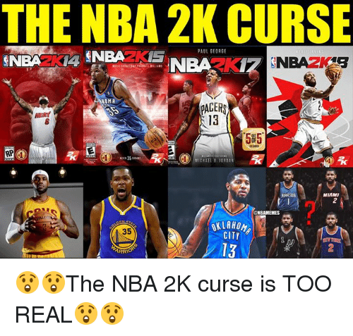 Nba, Paul George, and Jordan: THE NBA 2K CURSE  PAUL GEORGE  NOMA  PACER  13  5#5.  35  CHAEL B.JORDAN  MIAMI  2  NBAMEMES  OKLAHOM  CITY  35  13  2  ARR 😲😲The NBA 2K curse is TOO REAL😲😲