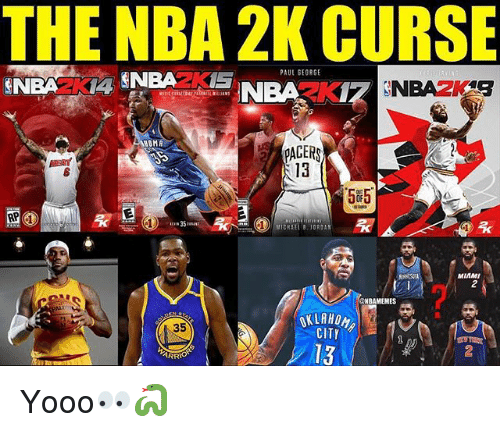 Memes, Nba, and Pacer: THE NBA 2K CURSE  PAUL SEORGE  OMA  PACER  13  585  MIAMI  2  NBAMEMES  35  CITY  13  2  ARRIO Yooo👀🐍