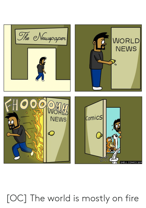 World News: The Newspaper  WORLD  NEWS  FHOOOO  NOP  Comics  NEWS  SHELL COMICS 2019 [OC] The world is mostly on fire