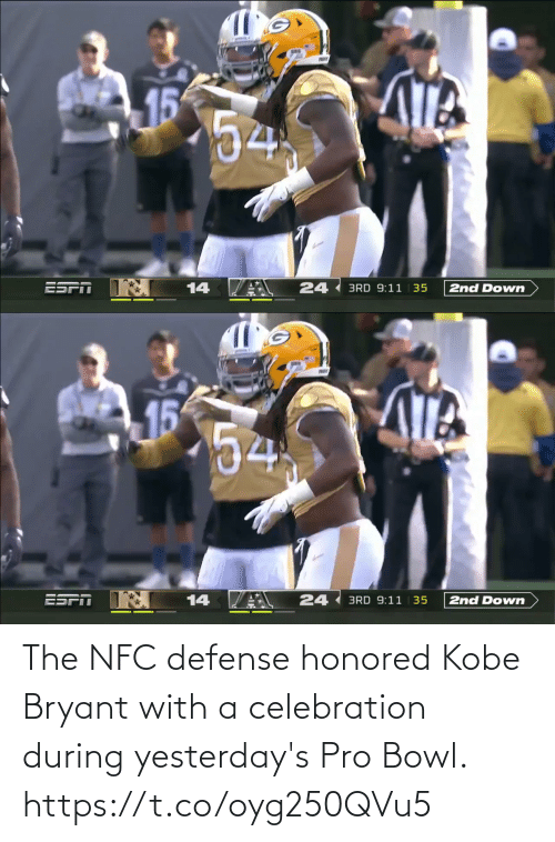 defense: The NFC defense honored Kobe Bryant with a celebration during yesterday's Pro Bowl. https://t.co/oyg250QVu5