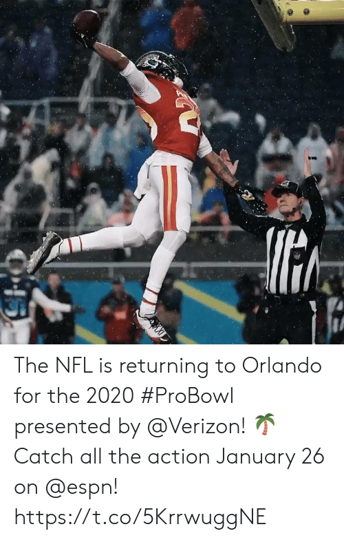 probowl: The NFL is returning to Orlando for the 2020 #ProBowl presented by @Verizon! 🌴 Catch all the action January 26 on @espn! https://t.co/5KrrwuggNE