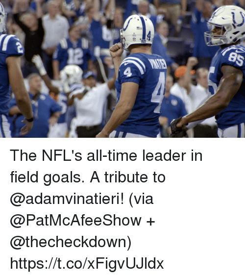 Goals, Memes, and Time: The NFL's all-time leader in field goals. A tribute to @adamvinatieri!  (via @PatMcAfeeShow + @thecheckdown) https://t.co/xFigvUJldx