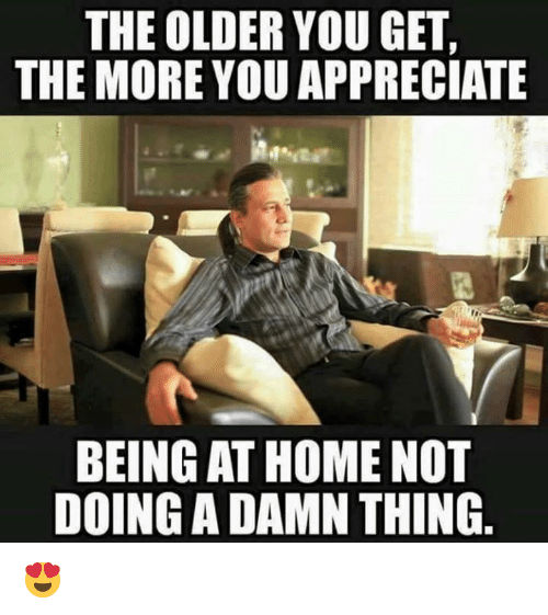 Dank, Appreciate, and Home: THE OLDER YOU GET,  THE MORE YOU APPRECIATE  BEING AT HOME NOT  DOING A DAMN THING 😍