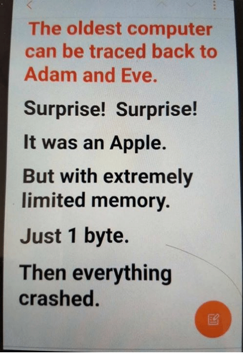 Adam and Eve, Apple, and Memes: The oldest computer  can be traced back to  Adam and Eve.  Surprise! Surprise!  It was an Apple.  But with extremely  limited memory.  Just 1 byte.  Then everything  crashed.