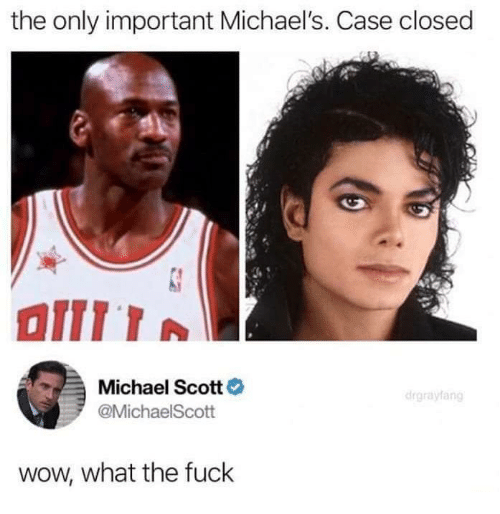 Michael Scott: the only important Michael's. Case closed  Michael Scott  @MichaelScott  wow, what the fuck