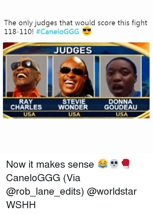 Andrew Bogut, Memes, and Stevie Wonder: The only judges that would score this fight  118-110! #CaneloGGG  JUDGES  RAY  CHARLES  STEVIE  WONDER  USA  DONNA  GOUDEAU  USA  USA Now it makes sense 😂💀🥊 CaneloGGG (Via @rob_lane_edits) @worldstar WSHH