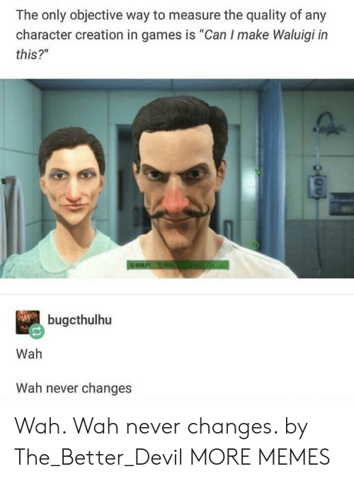 "objective: The only objective way to measure the quality of any  character creation in games is ""Can I make Waluigi in  this?""  bugcthulhu  Wah  Wah never changes Wah. Wah never changes. by The_Better_Devil MORE MEMES"