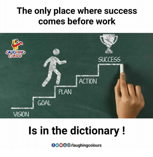 action plan: The only place where success  comes before work  LAUGHING  SUCCESS  ACTION  PLAN  GOAL  VISION  Is in the dictionary!  GOOO®/laughingcolours