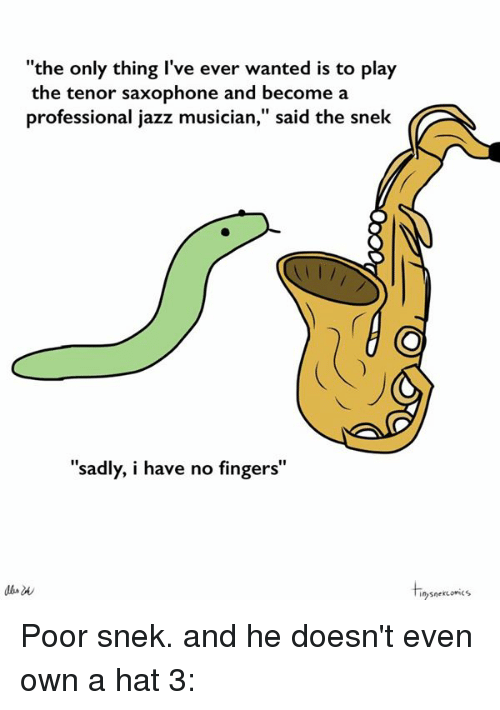 "Dank, Fingering, and Sad: ""the only thing I've ever wanted is to play  the tenor saxophone and become a  professional jazz musician,"" said the snek  ""sadly, i have no fingers""  snekuonics Poor snek. and he doesn't even own a hat 3:"