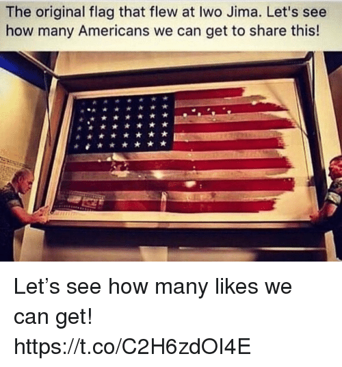 Memes, 🤖, and How: The original flag that flew at Iwo Jima. Let's see  how many Americans we can get to share this! Let's see how many likes we can get! https://t.co/C2H6zdOI4E