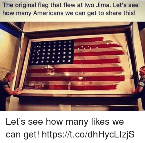 Memes, 🤖, and How: The original flag that flew at Iwo Jima. Let's see  how many Americans we can get to share this! Let's see how many likes we can get! https://t.co/dhHycLIzjS