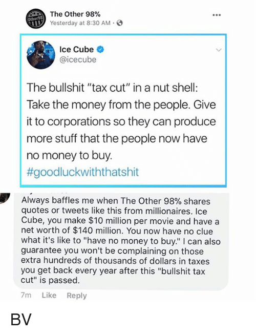 "Ice Cube, Memes, and Money: The Other 98%  Yesterday at 8:30 AM.  Other98  Ice Cube  @icecube  The bullshit ""tax cut"" in a nut shell:  Take the money from the people. Give  it to corporations so they can produce  more stuff that the people now have  no money to buy.  #goodluckwiththatshit  Always baffles me when The Other 98% shares  quotes or tweets like this from millionaires. Ice  Cube, you make $10 million per movie and have a  net worth of $140 million. You now have no clue  what it's like to ""have no money to buy."" I can also  guarantee you won't be complaining on those  extra hundreds of thousands of dollars in taxes  you get back every year after this ""bullshit tax  cut"" is passed.  7m Like Reply BV"