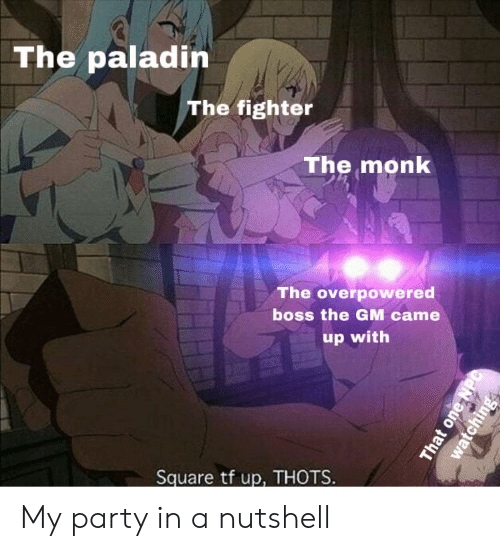 Party, Square, and DnD: The paladin  The fighter  The monk  The overpowered  boss the GM came  up with  Square tf up, THOTS  That one  watching My party in a nutshell