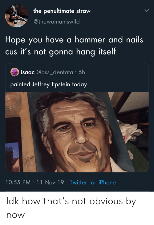obvious: the penultimate straw  @thewomaniswild  Hope you have a hammer and nails  CUs it's not gonna hang itself  isaac @ass_dentata 5h  painted Jeffrey Epstein today  10:55 PM 11 Nov 19 Twitter for iPhone Idk how that's not obvious by now