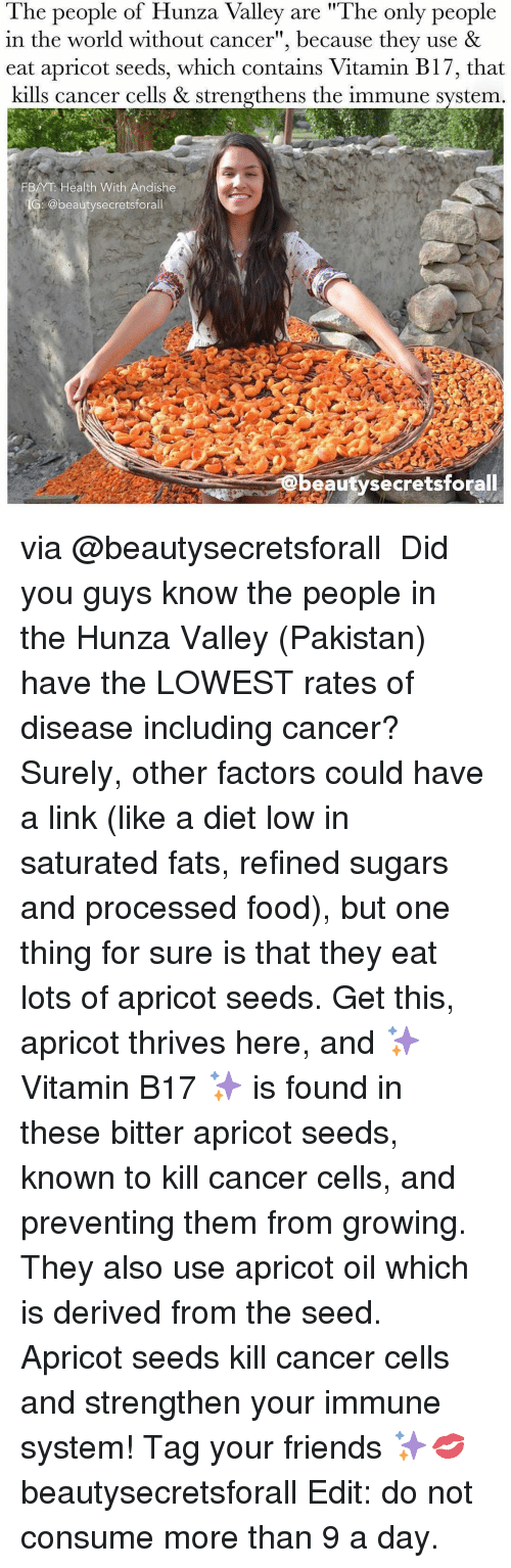 """derivative: The people of Hunza Valley are """"The only people  in the world without cancer"""", because they use &  eat apricot seeds, which contains Vitamin B17, that  kills cancer cells & strengthens the immune system  FBAYT Health With Andishe  @beauty secretsforall  eauty secretsforall via @beautysecretsforall ・・・ Did you guys know the people in the Hunza Valley (Pakistan) have the LOWEST rates of disease including cancer? Surely, other factors could have a link (like a diet low in saturated fats, refined sugars and processed food), but one thing for sure is that they eat lots of apricot seeds. Get this, apricot thrives here, and ✨Vitamin B17 ✨ is found in these bitter apricot seeds, known to kill cancer cells, and preventing them from growing. They also use apricot oil which is derived from the seed. Apricot seeds kill cancer cells and strengthen your immune system! Tag your friends ✨💋 beautysecretsforall Edit: do not consume more than 9 a day."""