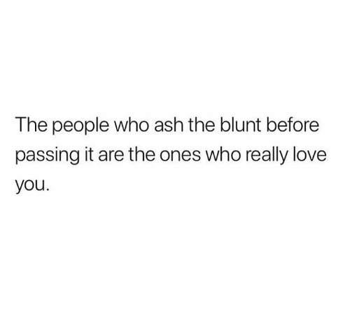Ash, Love, and Memes: The people who ash the blunt before  passing it are the ones who really love  you.