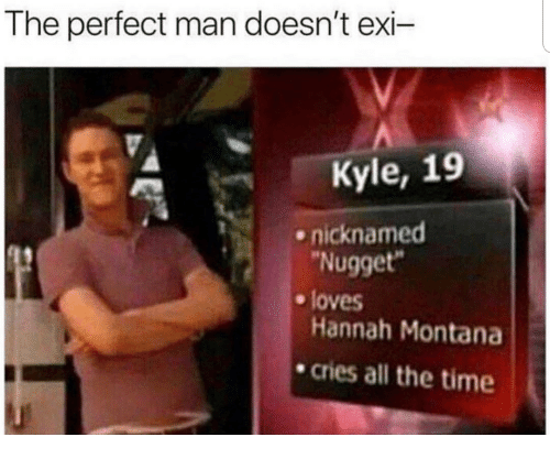 """Hannah Montana, Montana, and Time: The perfect man doesn't exi-  Kyle, 19  nicknamed  Nugget""""  Hannah Montana  cries all the time  e loves"""