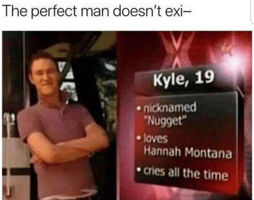 """Hannah Montana, Montana, and Time: The perfect man doesn't exi-  Kyle, 19  nicknamed  """"Nugget""""  loves  Hannah Montana  cries all the time"""