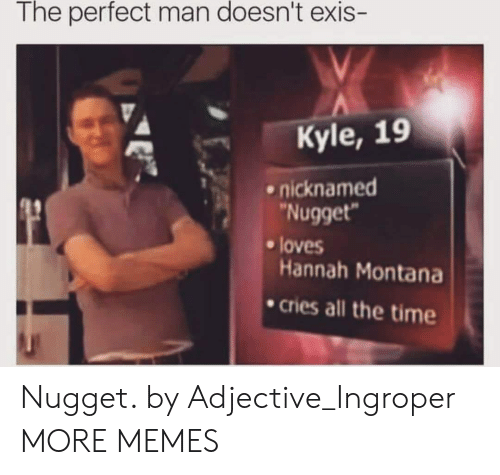 Dank, Memes, and Target: The perfect man doesn't exis  Kyle, 19  .nicknamed  Nugget  loves  Hannah Montana  cries all the time Nugget. by Adjective_Ingroper MORE MEMES