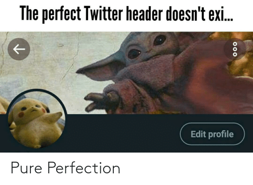 edit: The perfect Twitter header doesn't exi.  Edit profile  000 Pure Perfection