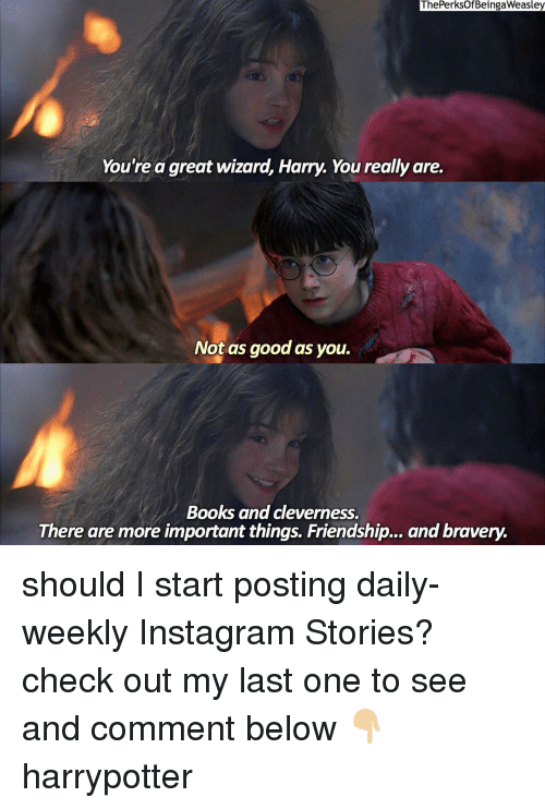 harried: The PerksOf BeingaWeasley  You're a great wizard, Harry. You really are.  Not as good as you.  Books and cleverness.  There are more important things. Friendship... and bravery. should I start posting daily-weekly Instagram Stories? check out my last one to see and comment below 👇🏼 harrypotter