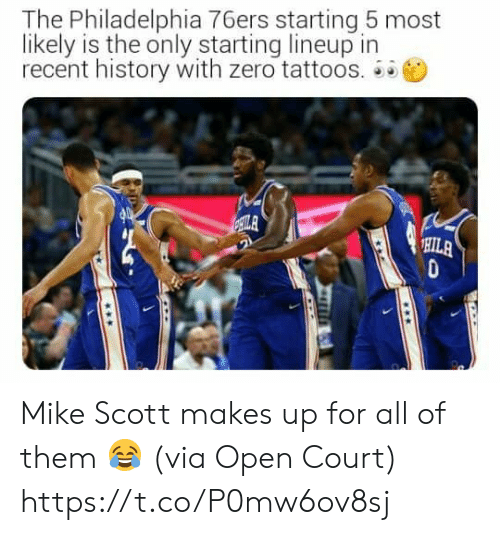 Philadelphia 76ers, Memes, and Tattoos: The Philadelphia 76ers starting 5 most  likely is the only starting lineup in  recent history with zero tattoos.  ILA  HILA Mike Scott makes up for all of them 😂  (via Open Court) https://t.co/P0mw6ov8sj