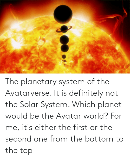 Solar System: The planetary system of the Avatarverse. It is definitely not the Solar System. Which planet would be the Avatar world? For me, it's either the first or the second one from the bottom to the top
