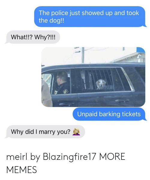 Dank, Memes, and Police: The police just showed up and took  the dog!  What!!? Why?!!!  Unpaid barking tickets  Why did I marry you? meirl by Blazingfire17 MORE MEMES