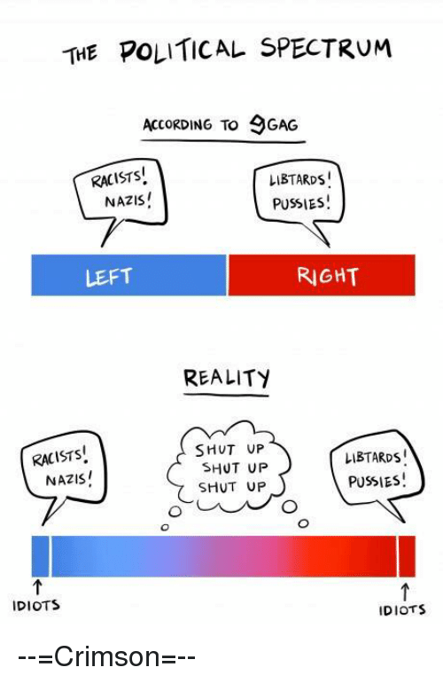 Ups Racist: THE POLITICAL SPECTRUM  ACCORDING TO 9GAG  RACISTS  LIBTARDS  NAZIS!  PUSSIES  RIGHT  LEFT  REALITY  SHUT UP  RACISTS  LIBTARDs  SHUT UP  NAZIS!  PUSSIES!  SHUT UP  IDIOTS  IDIOTS --=Crimson=--