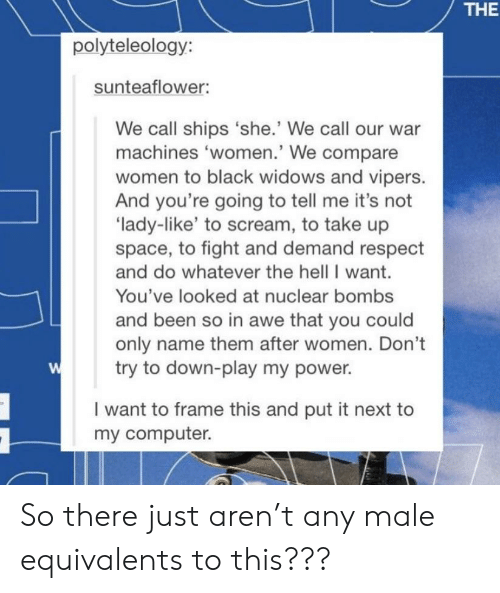 Respect, Scream, and Tumblr: THE  polyteleology:  sunteaflower:  We call ships 'she.' We call our war  machines 'women.' We compare  women to black widows and vipers.  And you're going to tell me it's not  'lady-like' to scream, to take up  space, to fight and demand respect  and do whatever the hell I want.  You've looked at nuclear bombs  and been so in awe that you could  only name them after women. Don't  try to down-play my power.  I want to frame this and put it next to  my computer. So there just aren't any male equivalents to this???