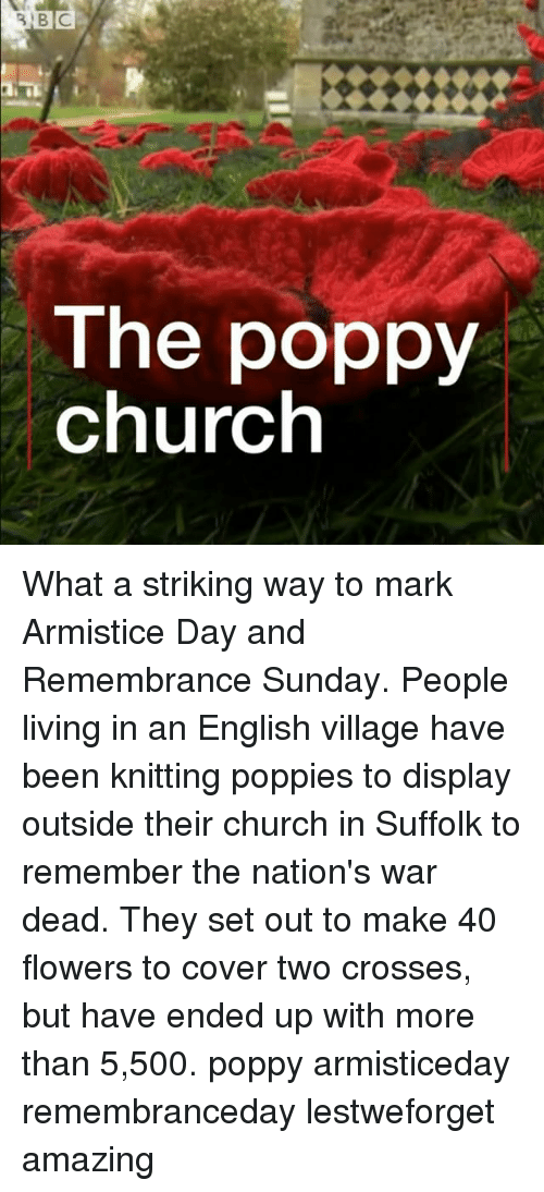 Church, Memes, and Flowers: The poppy  church What a striking way to mark Armistice Day and Remembrance Sunday. People living in an English village have been knitting poppies to display outside their church in Suffolk to remember the nation's war dead. They set out to make 40 flowers to cover two crosses, but have ended up with more than 5,500. poppy armisticeday remembranceday lestweforget amazing
