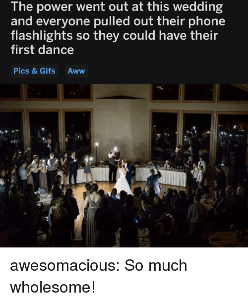 Aww, Phone, and Tumblr: The power went out at this wedding  and everyone pulled out their phone  flashlights so they could have their  first dance  Pics & Gifs Aww  ICS awesomacious:  So much wholesome!
