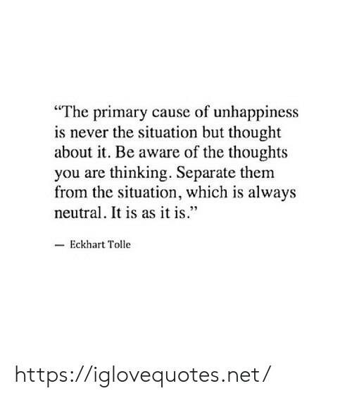 "Never, Thought, and Eckhart Tolle: ""The primary cause of unhappiness  is never the situation but thought  about it. Be aware of the thoughts  you are thinking. Separate them  from the situation, which is always  neutral. It is as it is""  -Eckhart Tolle https://iglovequotes.net/"