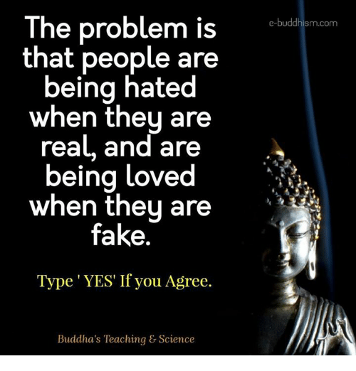 Fake, Memes, and Science: The problem is  that people are  being hated  when they are  real, and are  being loved  when they are  fake.  Type YES If you Agree.  Buddha's Teaching & Science  e-buddhism com