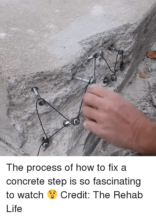 Life, How To, and Watch: The process of how to fix a concrete step is so fascinating to watch 😲  Credit: The Rehab Life