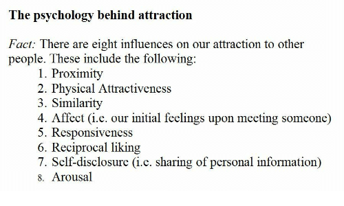 Psychology: The psychology behind attraction  Fact: There are eight influences on our attraction to other  people. These include the following  1. Proximity  2. Physical Attractiveness  3. Similarity  4. Affect (i.e. our initial feelings upon meeting someone)  5. Responsiveness  6. Reciprocal liking  7. Self-disclosure (i.e. sharing of personal information)  8. Arousal