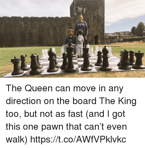 Memes, Queen, and Board: The Queen can move in any direction on the board The King too, but not as fast (and I got this one pawn that can't even walk) https://t.co/AWfVPklvkc