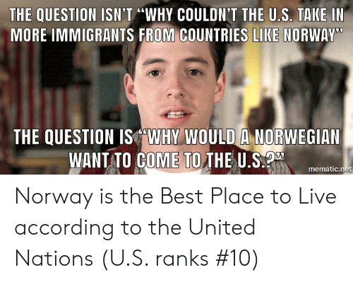 "Best, Live, and Norway: THE QUESTION ISN'T ""WHY COULDN'T THE U.S. TAKE IN  MORE IMMIGRANTS FROM COUNTRIES LIKE NORWAY  THE QUESTION ISWHY WOULD A NORWEGIAN  WANT TO GOME TO THE U.Smer  mematic.net Norway is the Best Place to Live according to the United Nations (U.S. ranks #10)"