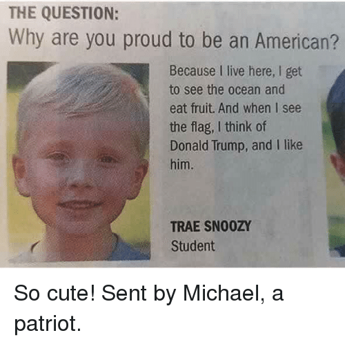 Cute, Donald Trump, and Memes: THE QUESTION:  Why are you proud to be an American?  Because I live here, I get  to see the ocean and  eat fruit. And when I see  the flag, I think of  Donald Trump, and I like  him.  TRAE SN00ZY  Student So cute!   Sent by Michael, a patriot.